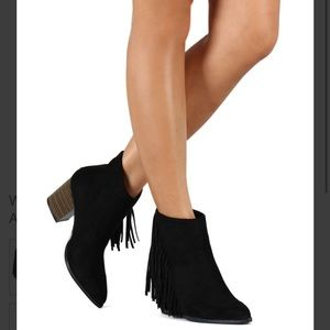Bootie Suede Pointy Toe Fringe Chunky Heel Cowgirl